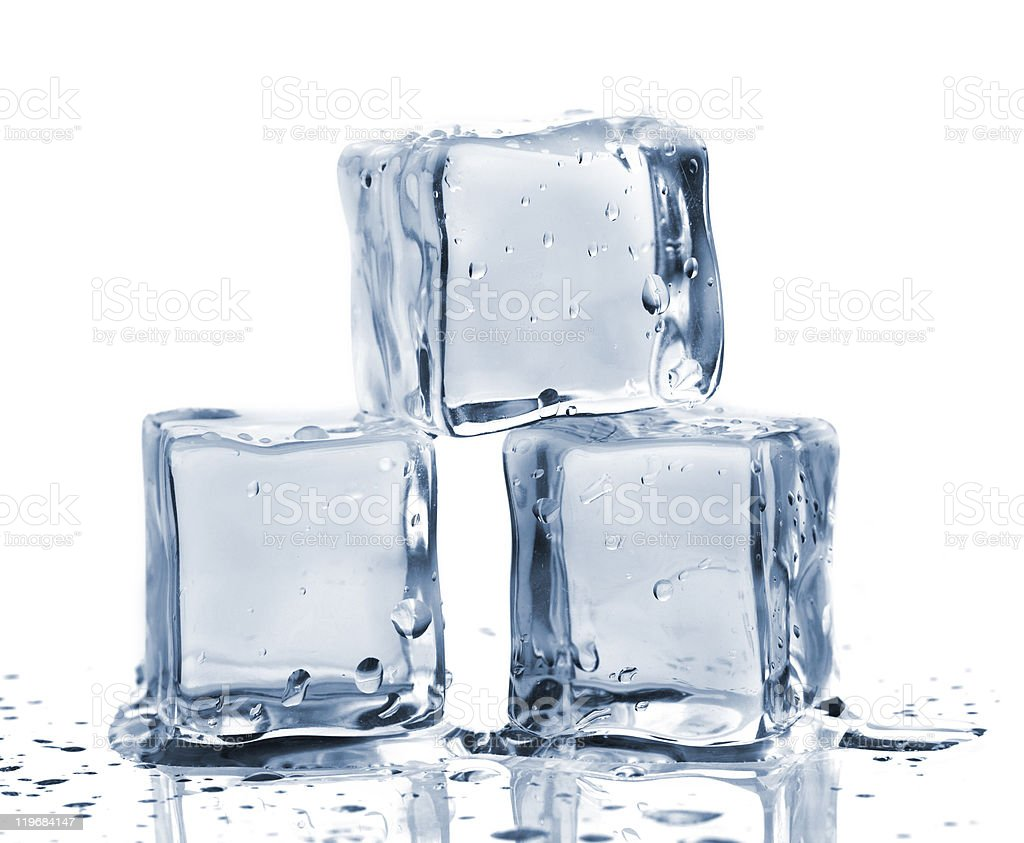 Three ice cubes stock photo