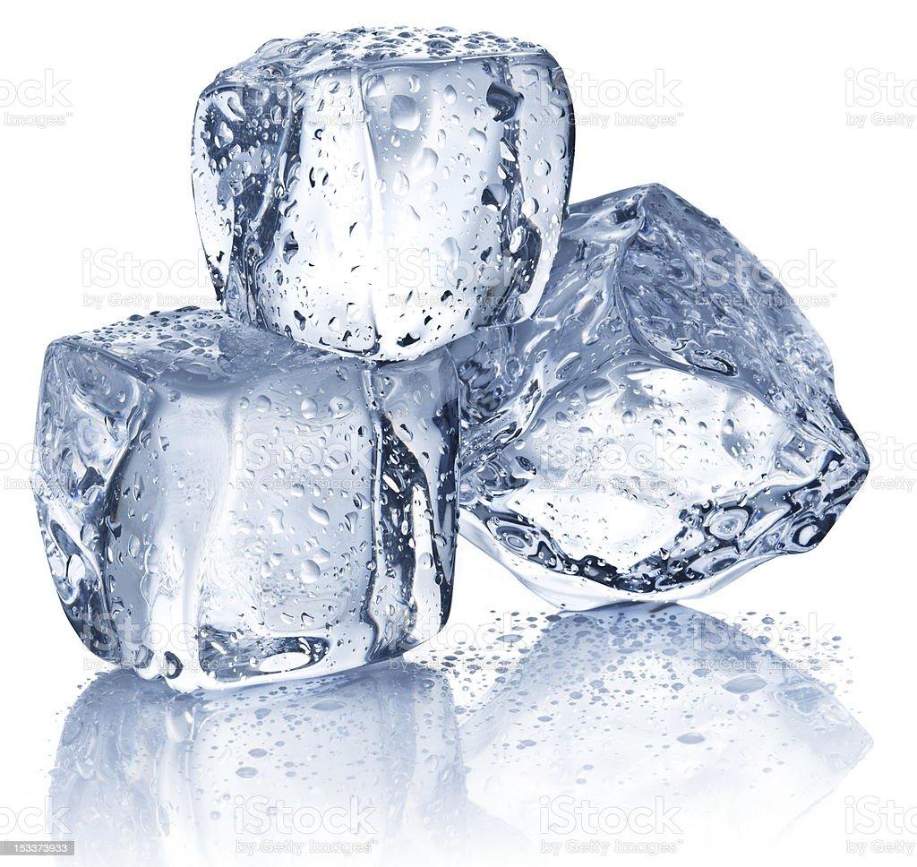 Three ice cubes stock photo