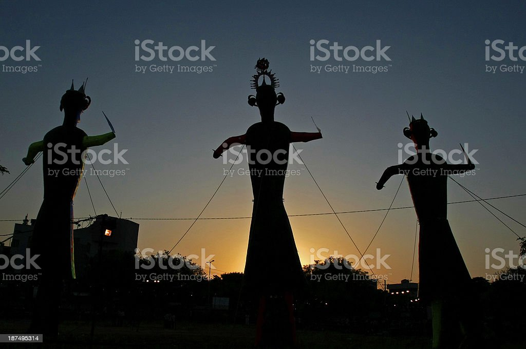 Three idols are setup for the dussehra festival stock photo