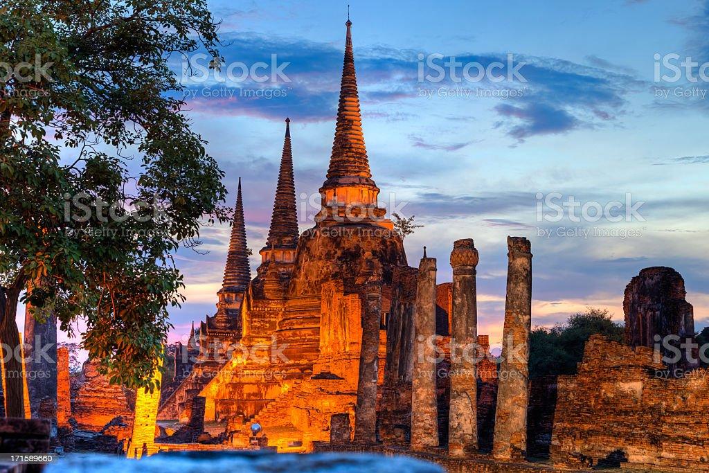 Three illuminated pagodas at Wat Phra Si Sanphet, Ayutthaya, Thailand stock photo