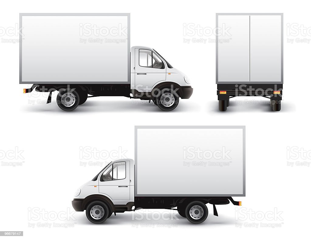Three images of white delivery truck from different angles stock photo