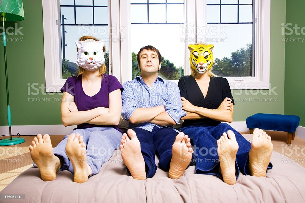Three in Bed royalty-free stock photo