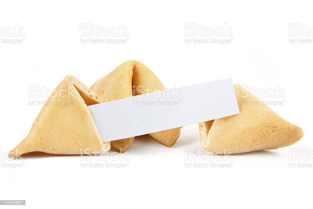 Three isolated Chinese fortune cookies with a blank paper stock photo