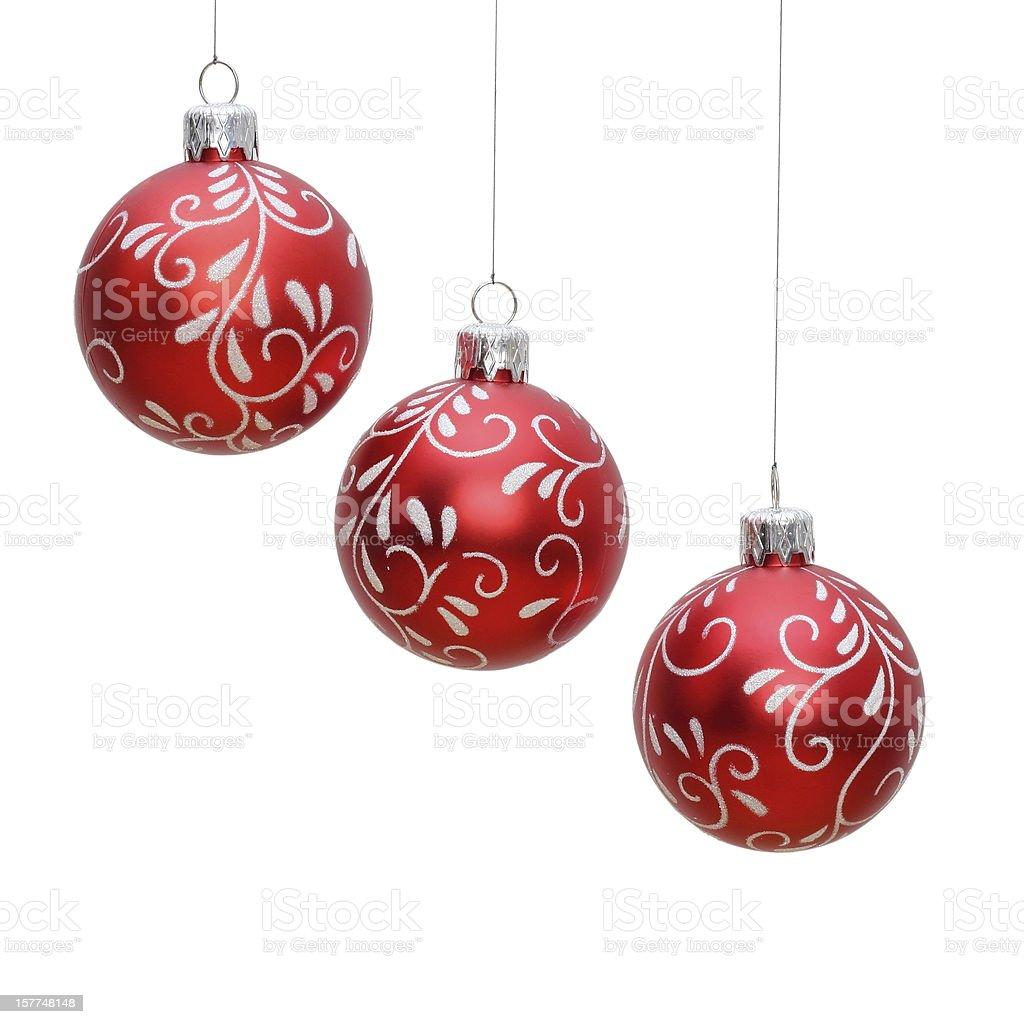 three isolated christmas balls royalty-free stock photo