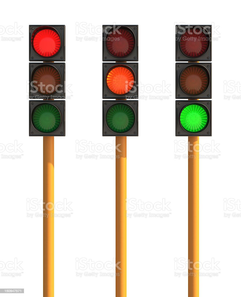 Three Isolated Traffic Light, Red, Orange and Green State royalty-free stock photo