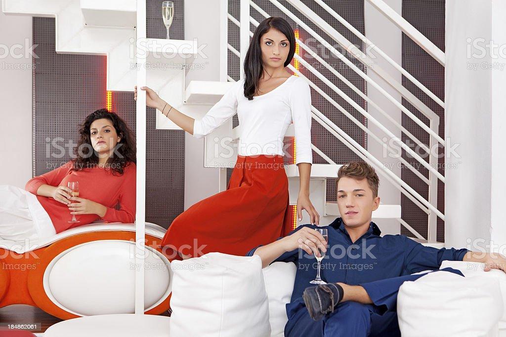 three Italian models posing indoors royalty-free stock photo