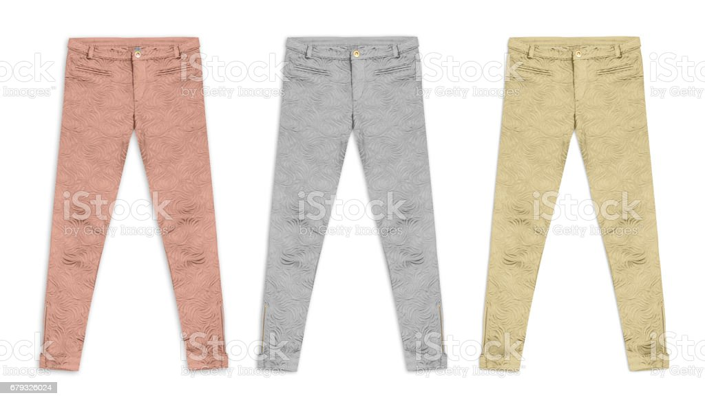 three jacquard pants in bronze, silver, and gold, isolated on white background stock photo
