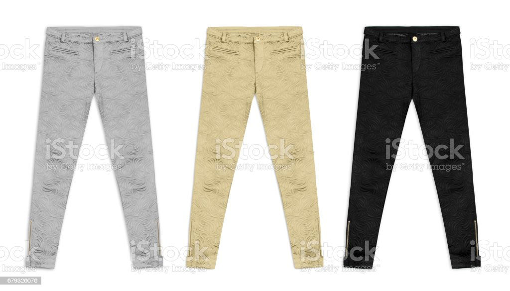 three jacquard pants in silver, gold and black, isolated on white background stock photo