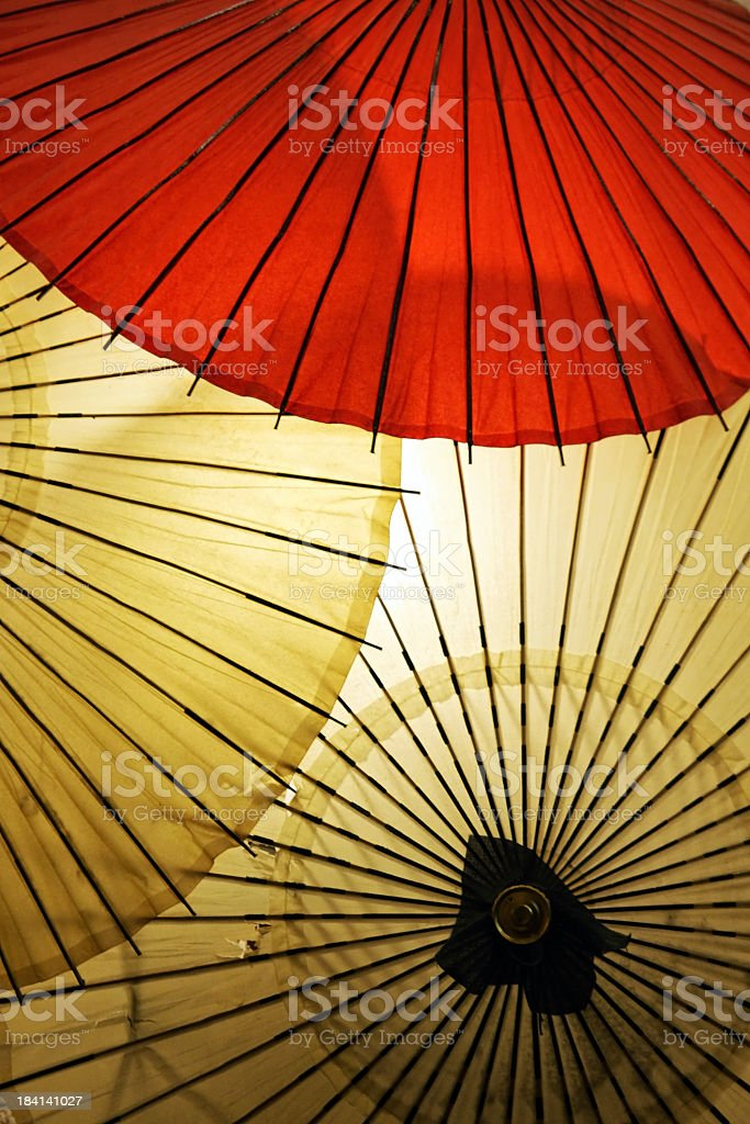 Three Japanese umbrelas stock photo