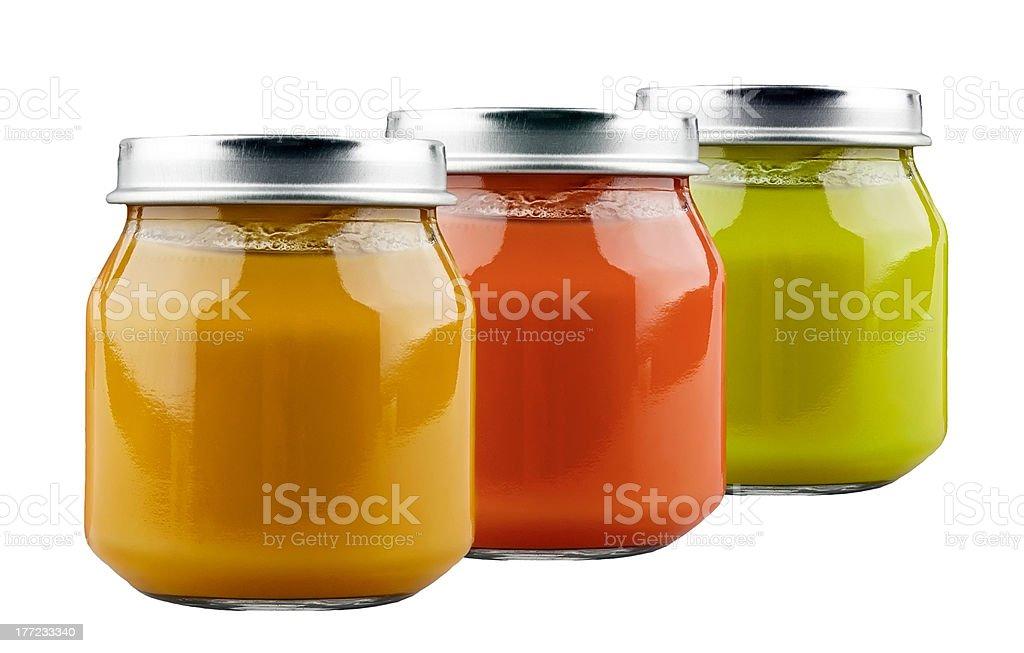 Three jars of baby food royalty-free stock photo