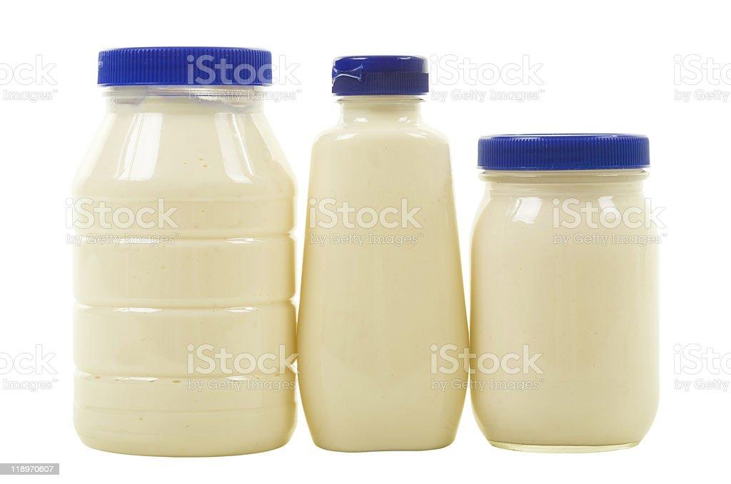 Three Jars with Mayonnaise royalty-free stock photo