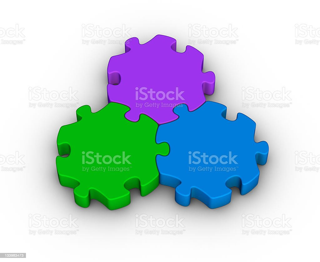 three jigsaw pieces stock photo