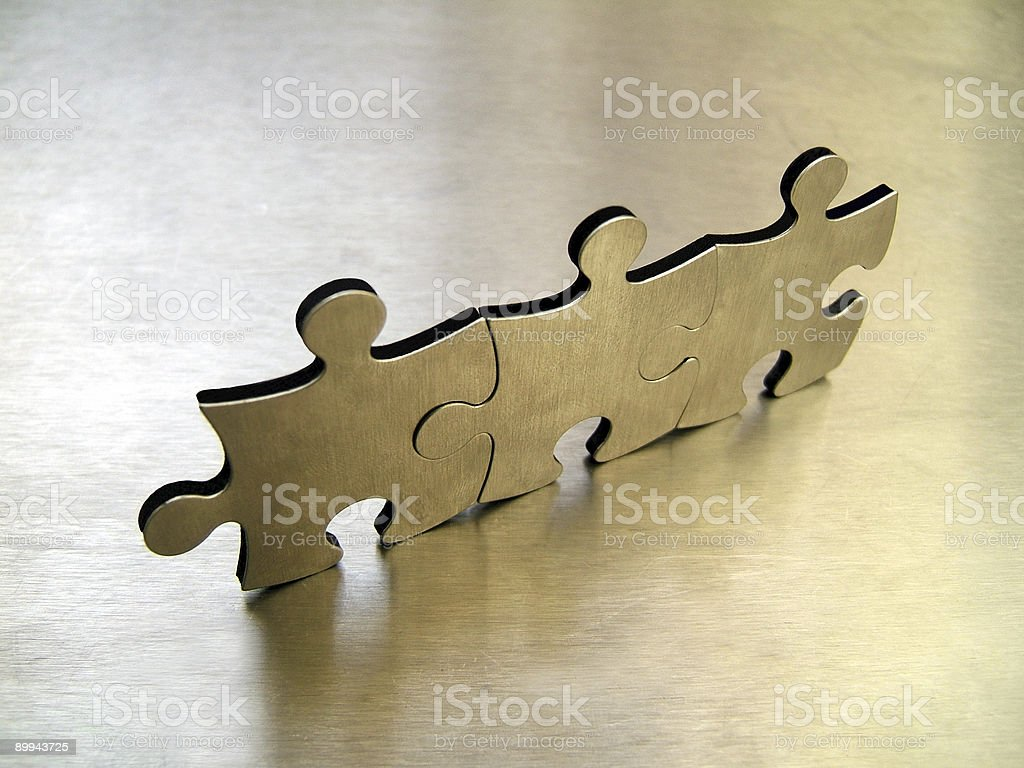 Three jigsaw pieces royalty-free stock photo