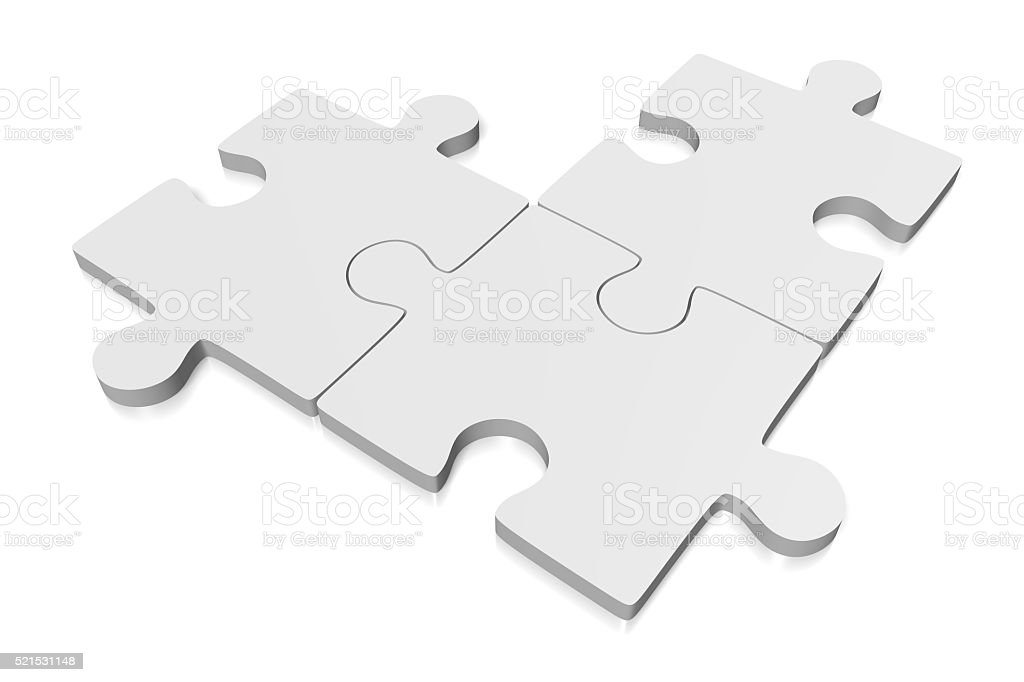 3D three jigsaw puzzles stock photo