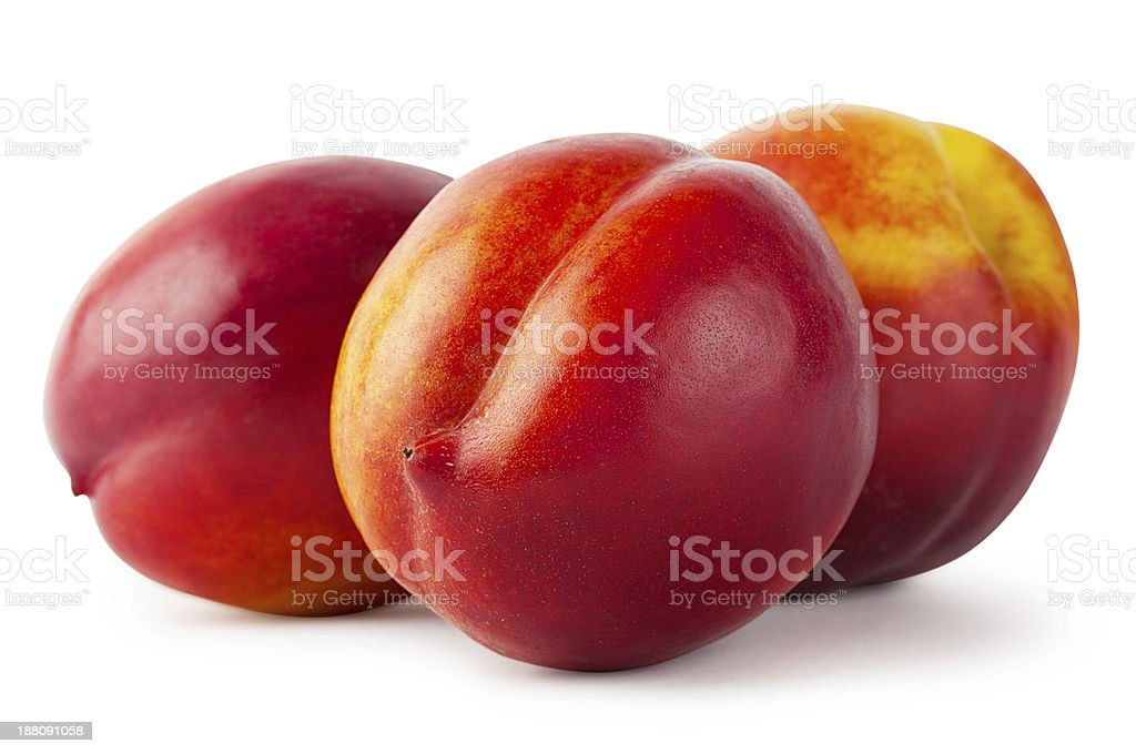 Three juicy nectarine stock photo