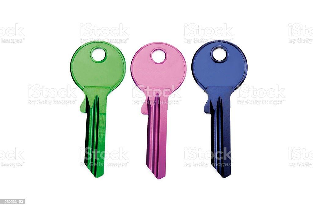 Three keys, close-up stock photo