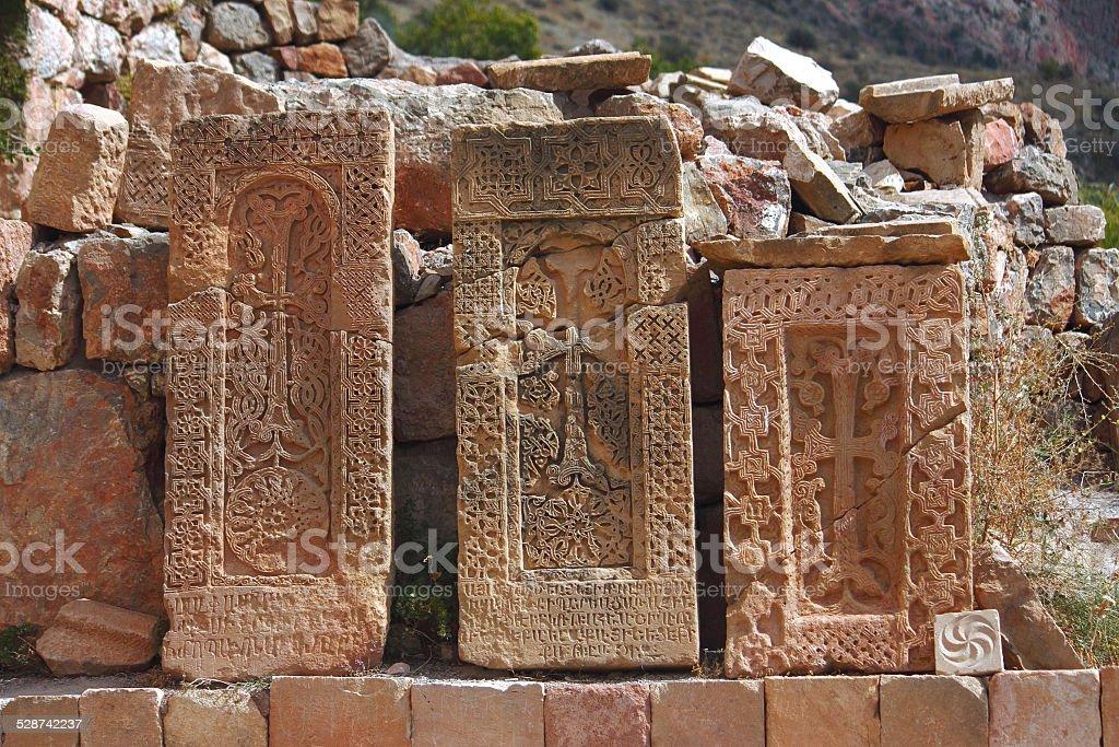 three khachkars in the monastic complex Noravank stock photo