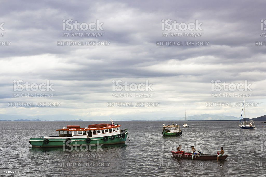 Three kids going to fish royalty-free stock photo