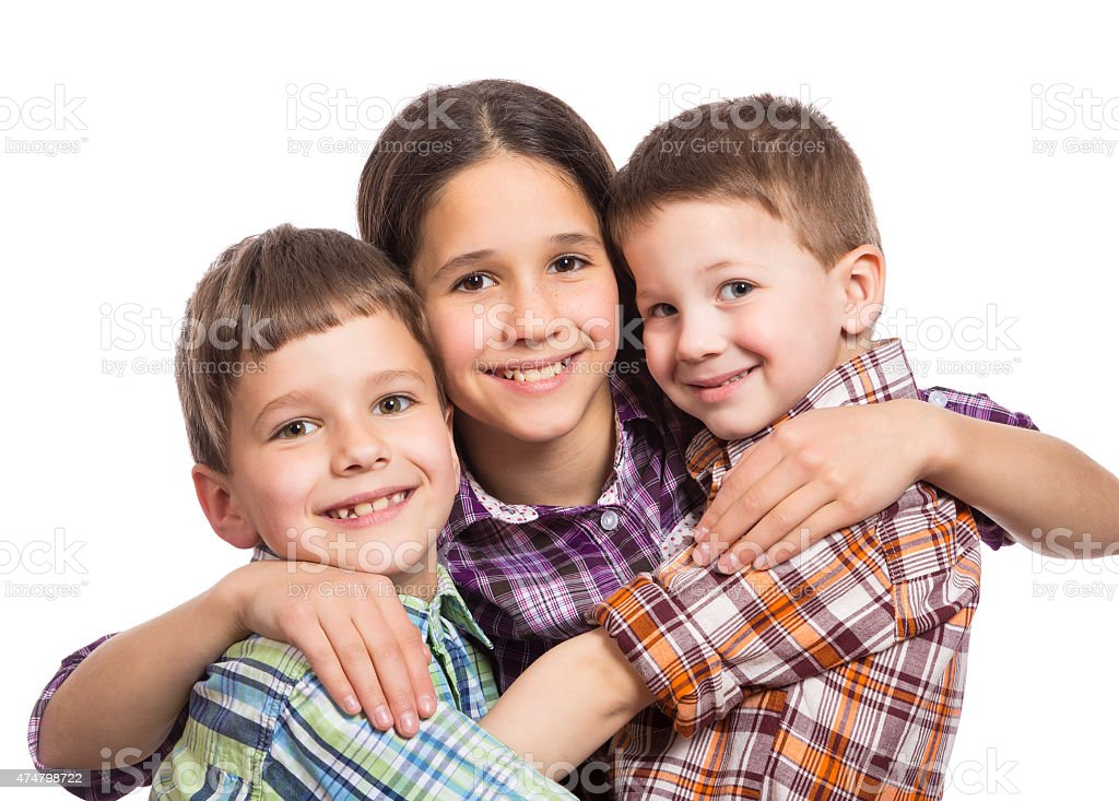 Three kids together stock photo