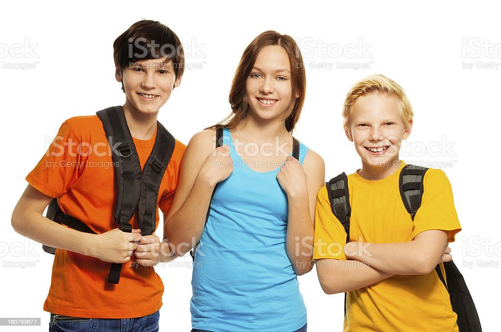 Three kids with school backpacks royalty-free stock photo
