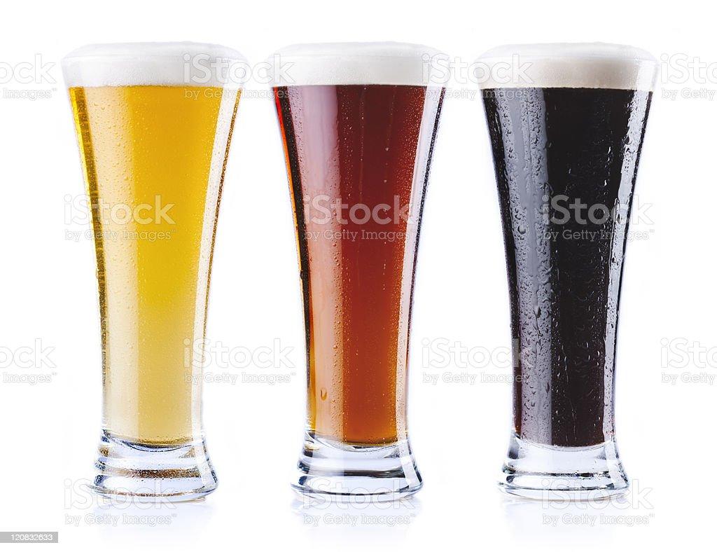 Three kind of beer stock photo