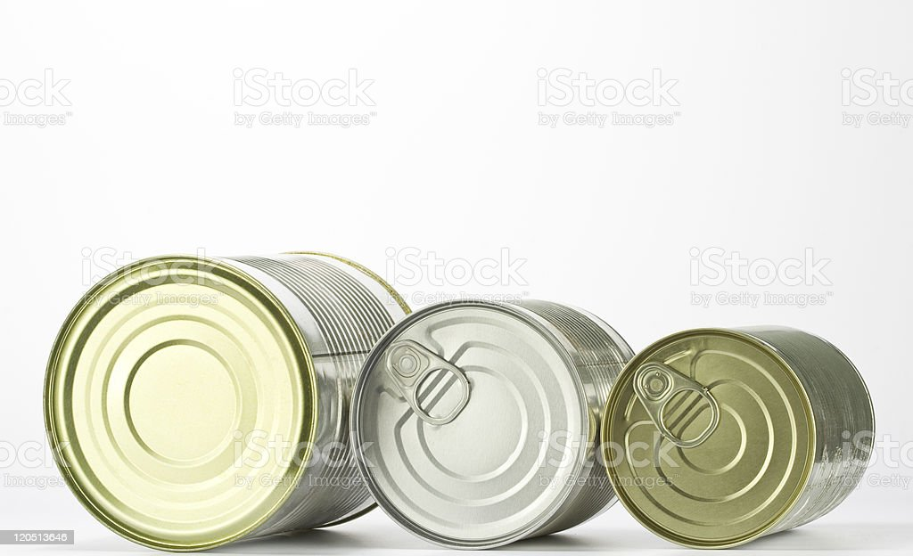 Three kinds of cans against white background royalty-free stock photo