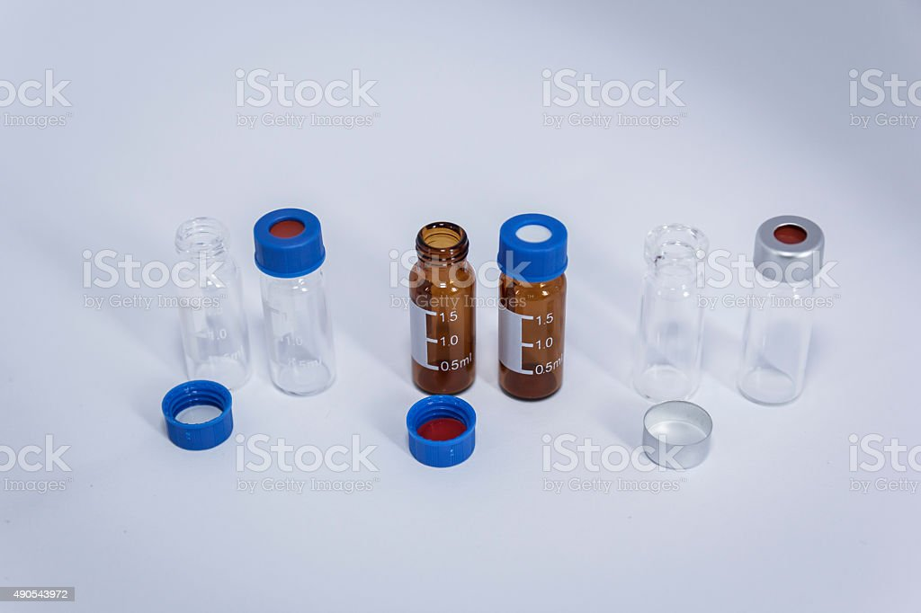 Three kinds of vial in laboratory stock photo