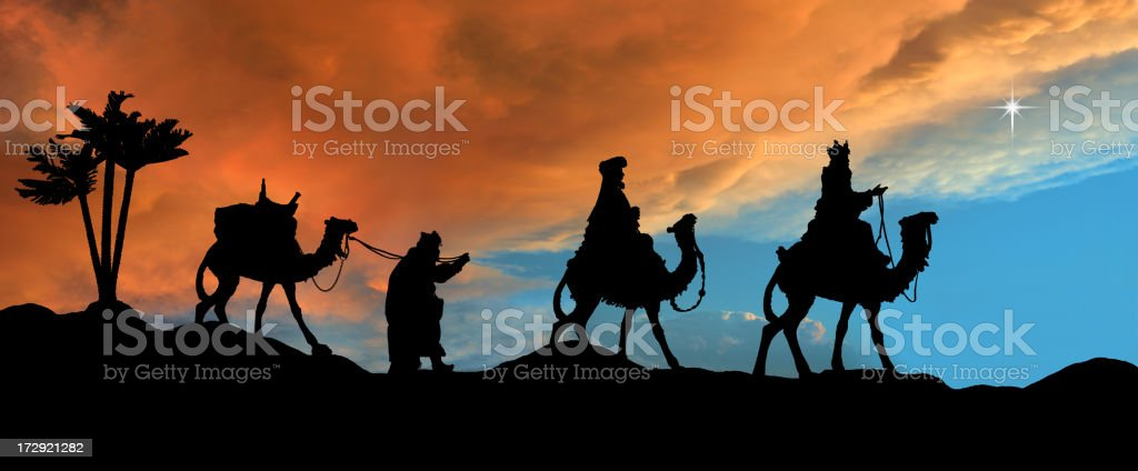 Three Kings (photographed silhouette) stock photo