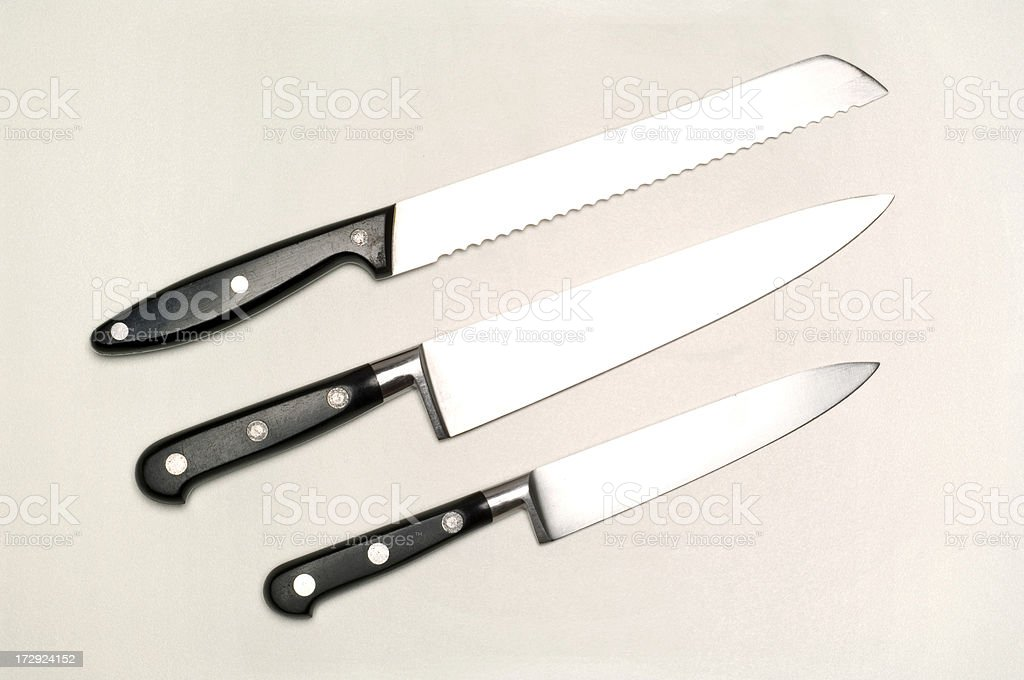 Three kitchen knifes on white royalty-free stock photo