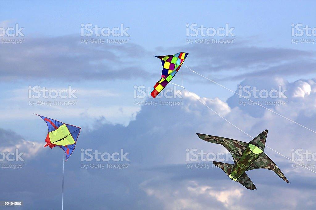 Three kites in sky stock photo