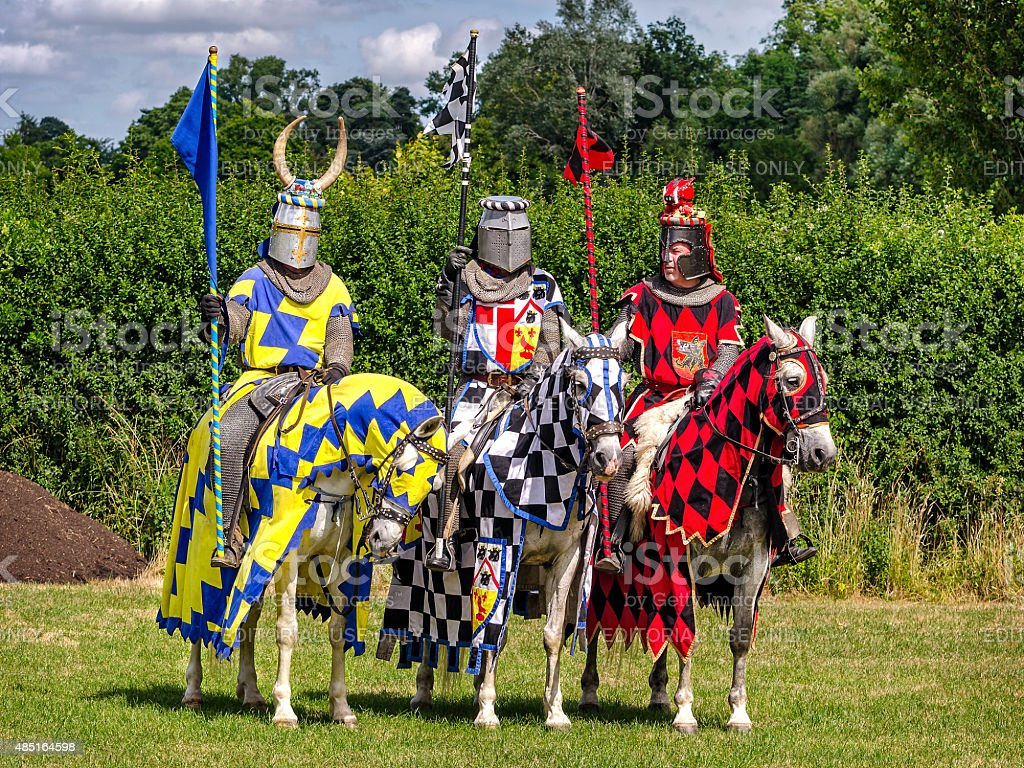 Three knights are ready for tournament re-enactment stock photo