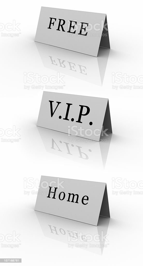Three Labels Free VIP Home royalty-free stock photo