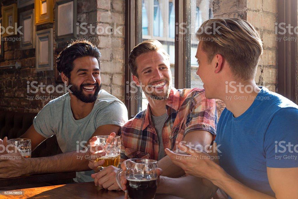 Three Lads Chatting stock photo