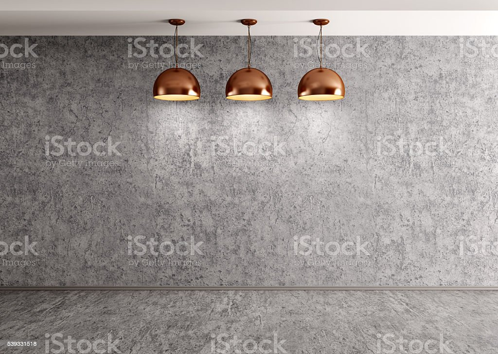 Three lamps over concrete wall 3d rendering stock photo