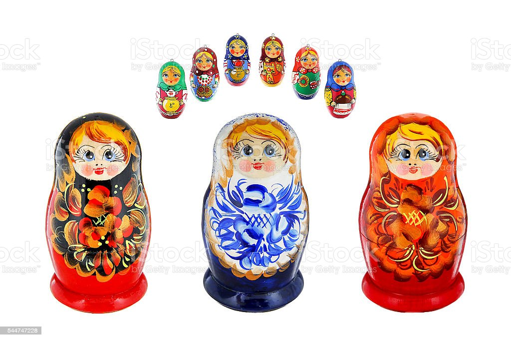 Three large and six small russiann nesting dolls stock photo