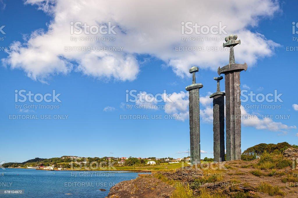 Three large swords stock photo