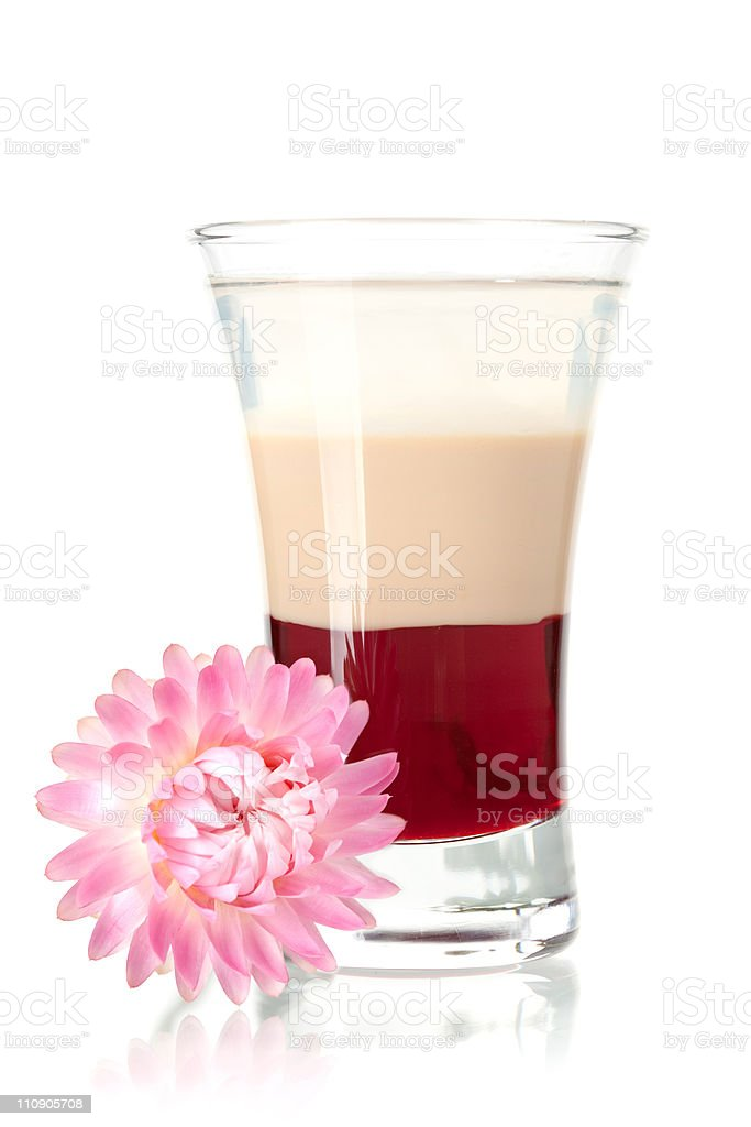 Three layered shot with flower royalty-free stock photo