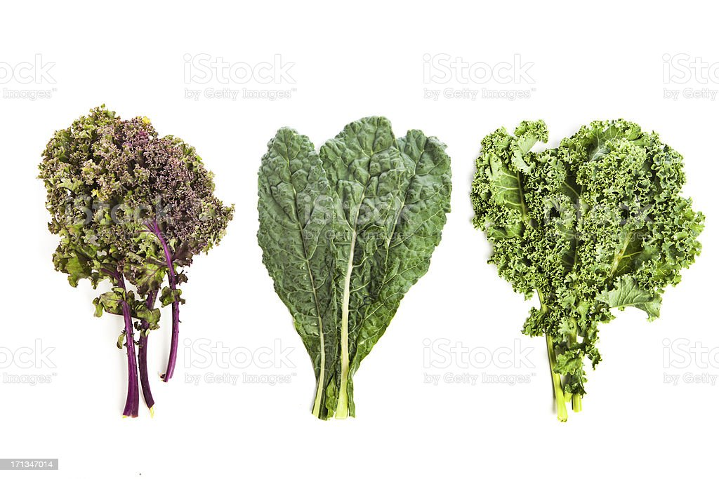 Three leafy kale plants stock photo