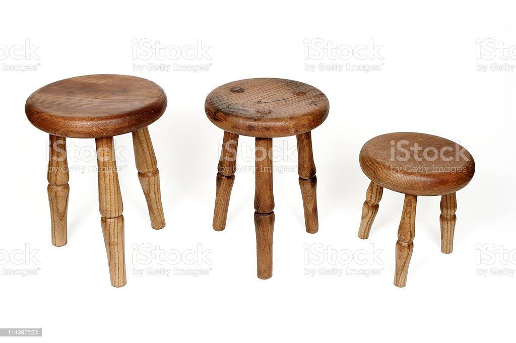 Three Legged Milking Stools stock photo