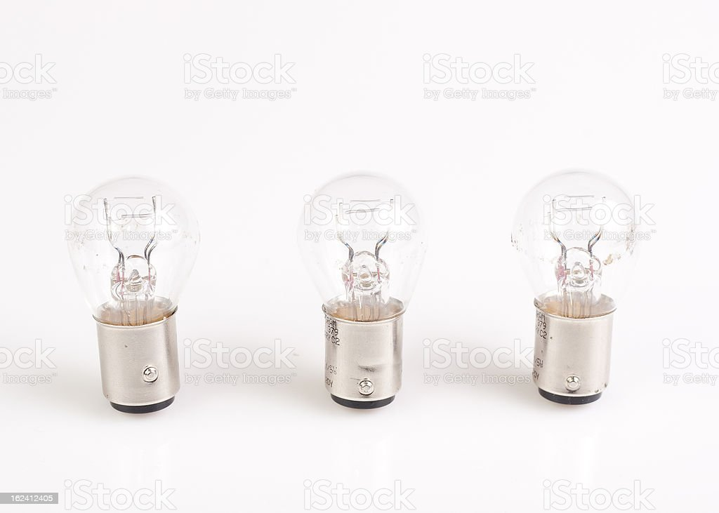 Three light bulbs isolated on white background. royalty-free stock photo