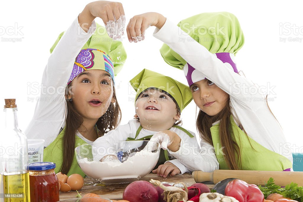 Three little cookers stock photo