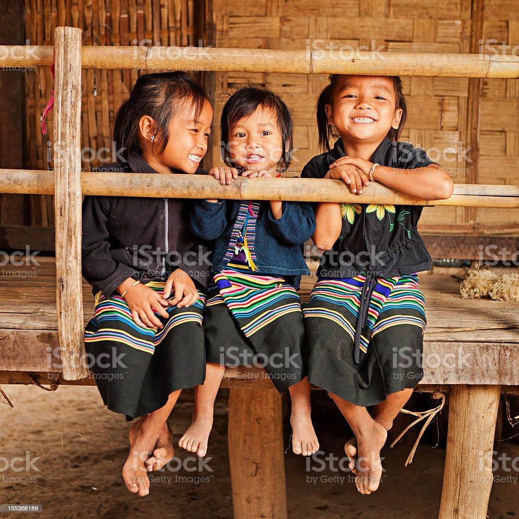 Three little girls in Northern Laos stock photo