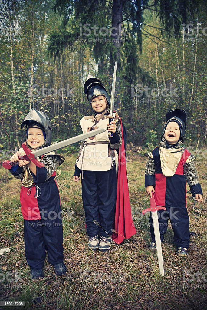 Three little knights royalty-free stock photo