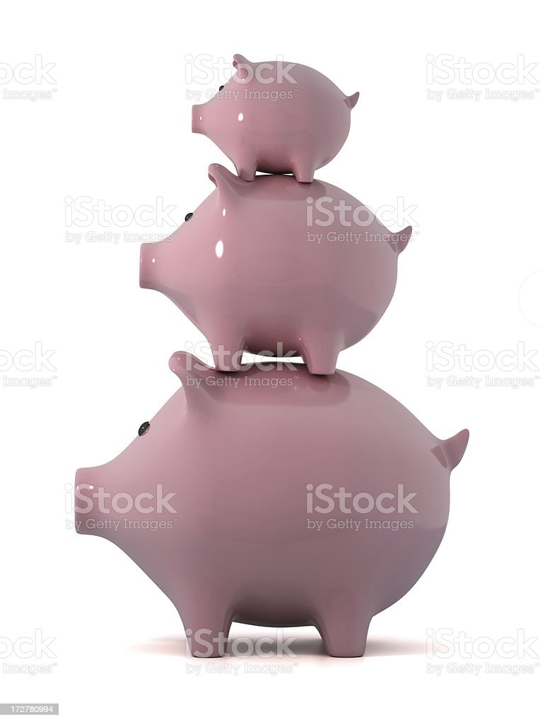 Three little piggy banks royalty-free stock photo