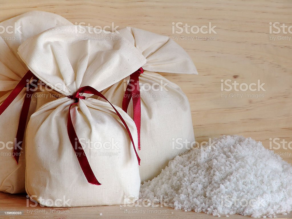Three little salt bags royalty-free stock photo