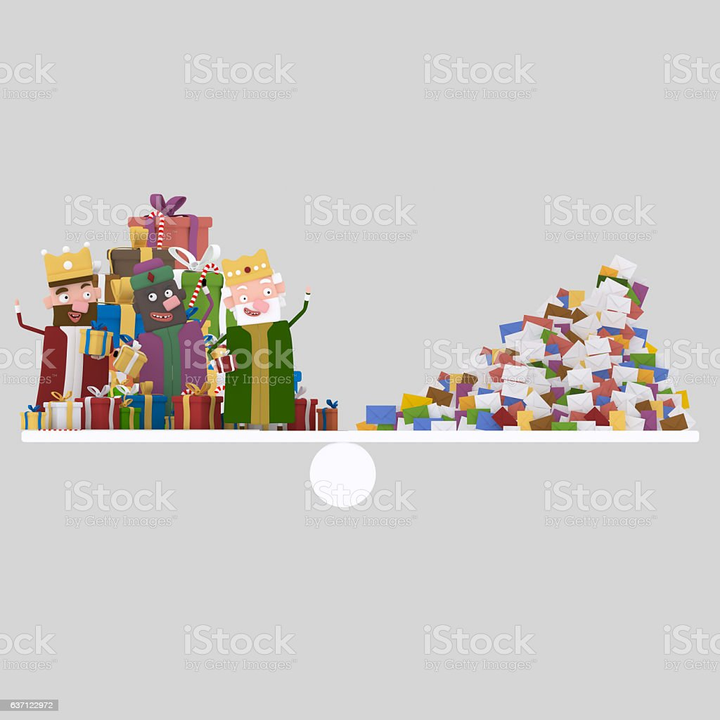 Three magic kings and heap of letters balance stock photo
