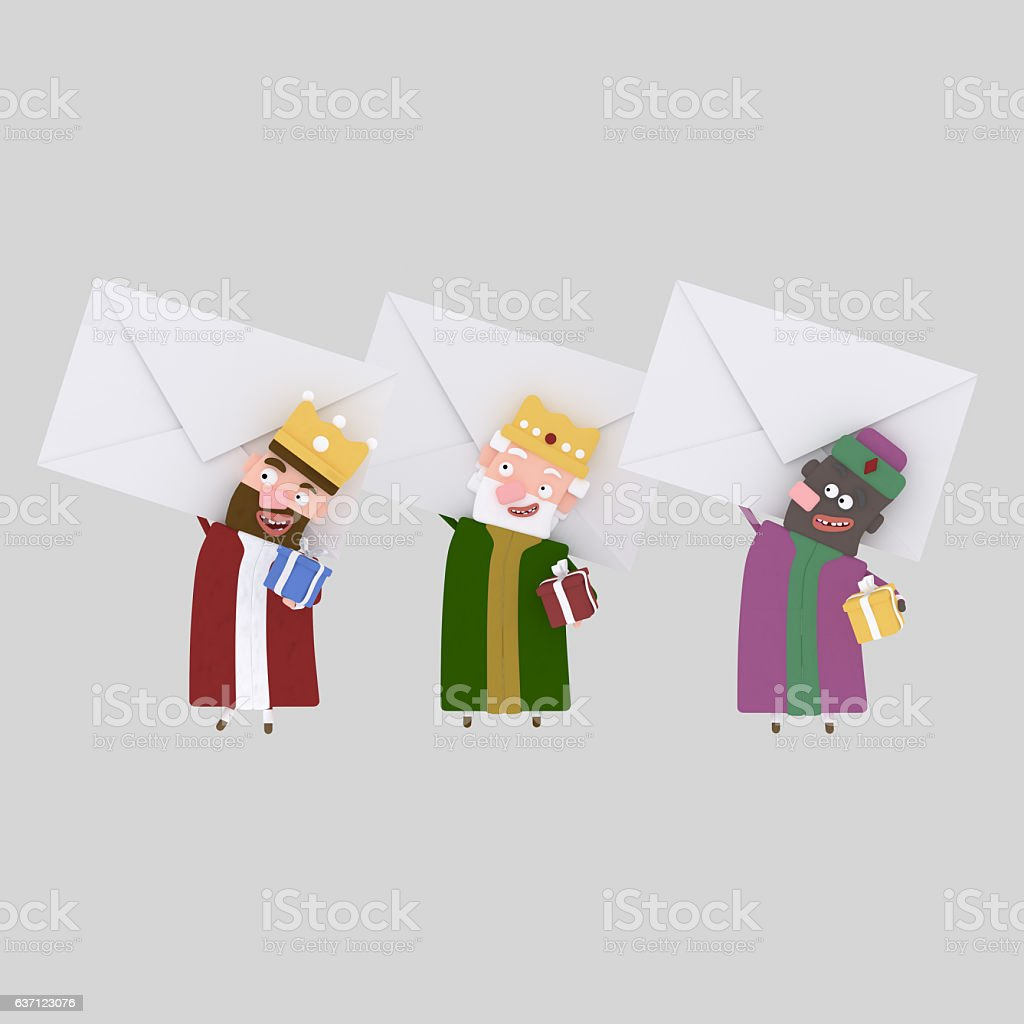 Three Magic Kings holding a big letters stock photo