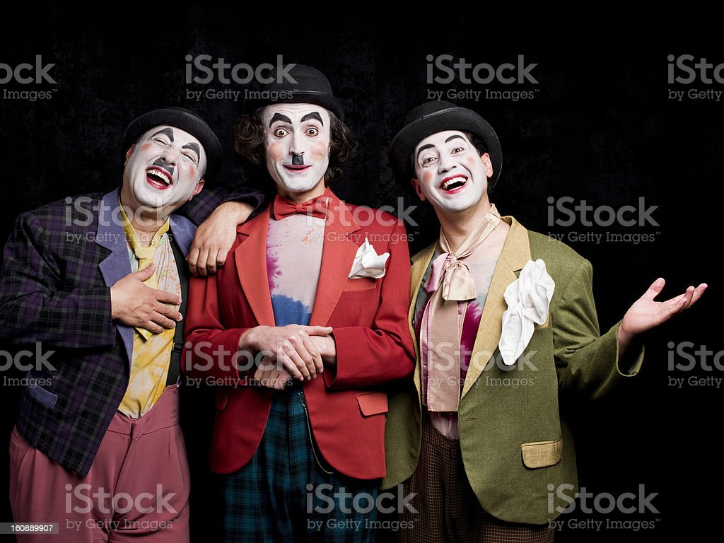 Three male actors acting stock photo