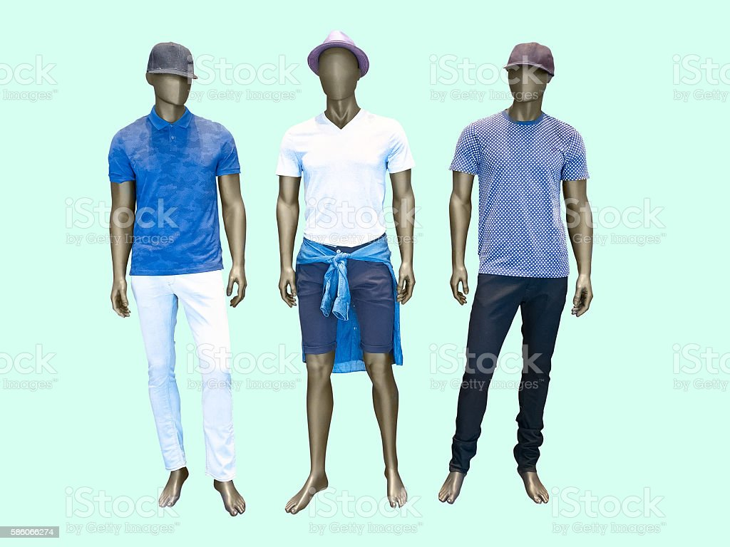 Three male mannequins stock photo