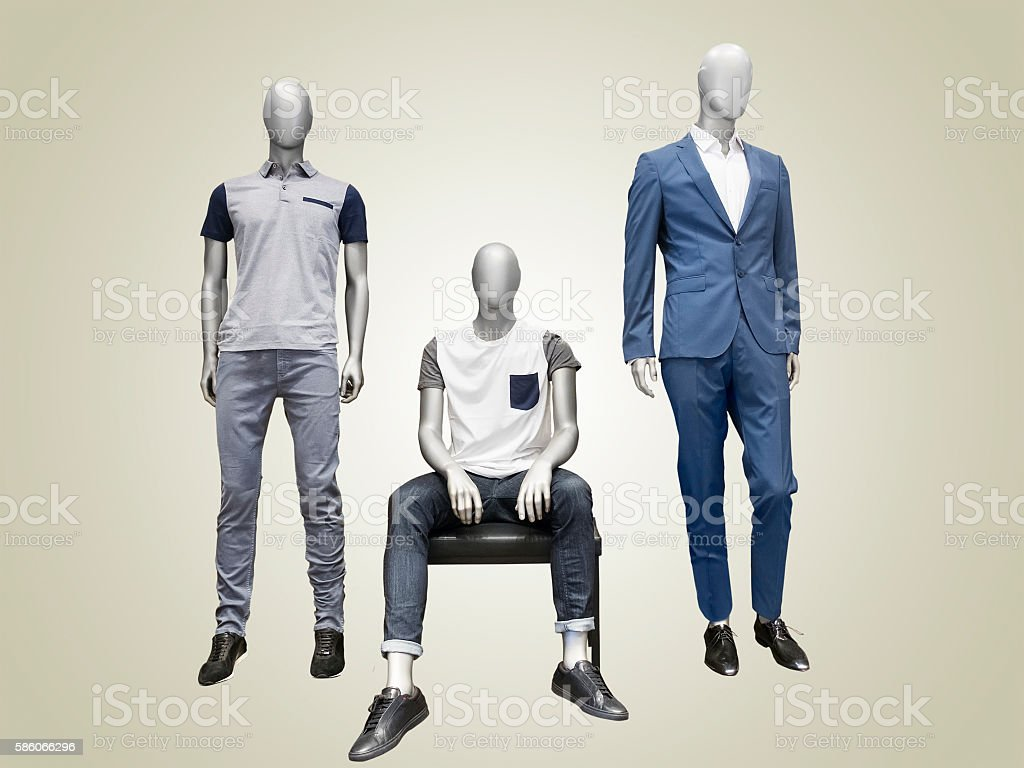 Three male mannequins. stock photo